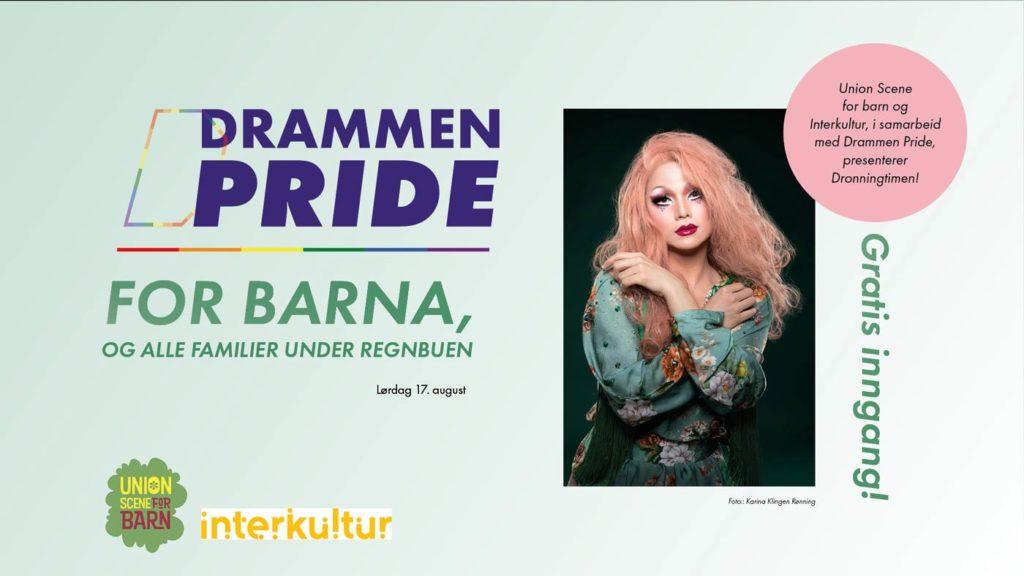 I samarbeid med Drammen Scene for barn og Interkultur, ønsker Drammen Pride velkommen til Dronningtimen lørdag 17. august! I tillegg blir det både ansiktsmaling og ballongkunst for store og små med med Retten og Sletten.