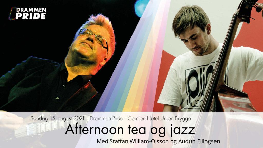 Søndag 15. August fra klokken 13:30 - 16:00 på Comfort Hotel Union Brygge inviterer Drammen Pride til Afternoon Tea og jazz.